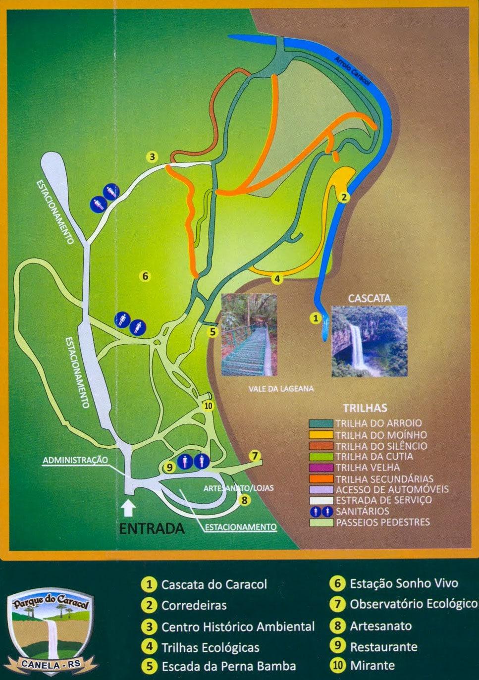 Mapa Trilhas Parque do Caracol